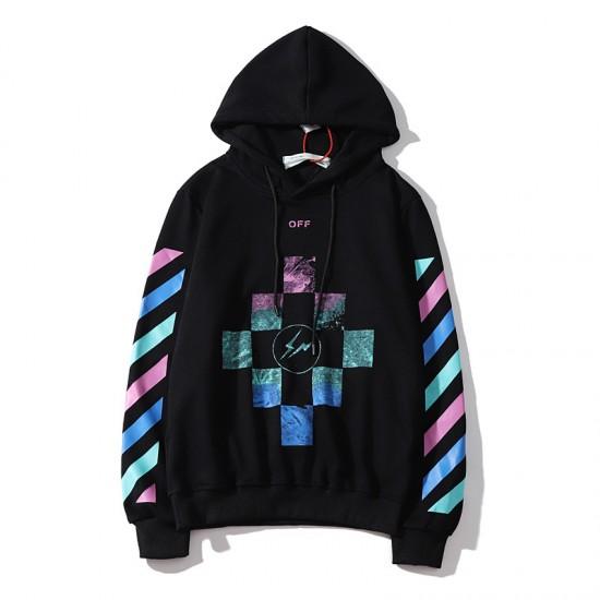 2020 Autumn OFF-WHITE Lightning Stripes Hoodie Black