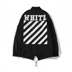 2020 Spring OFF-WHITE Multi-badge Swallowtail Men Trench Coat Black