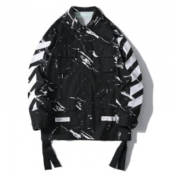 2019 SS OFF-WHITE Marble Pattern Men's Jacket Black