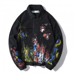 2019 Men's OFF-WHITE Graffiti Denm Jacket Black