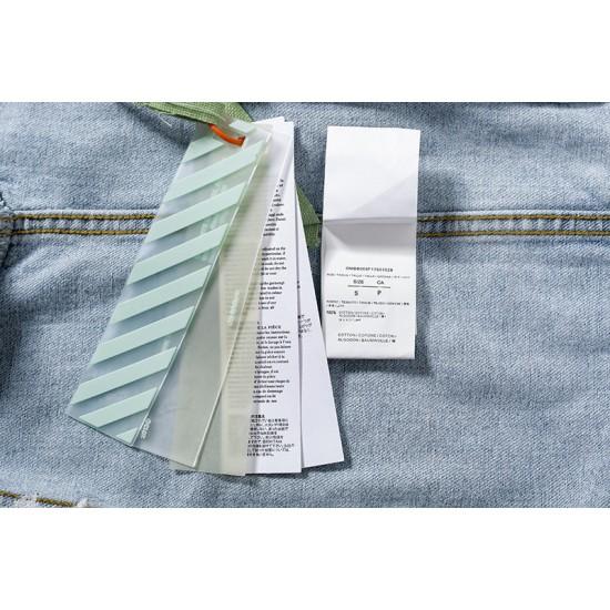 2020 Autumn OFF-WHITE Embroidery Cowboy Jacket Light Blue