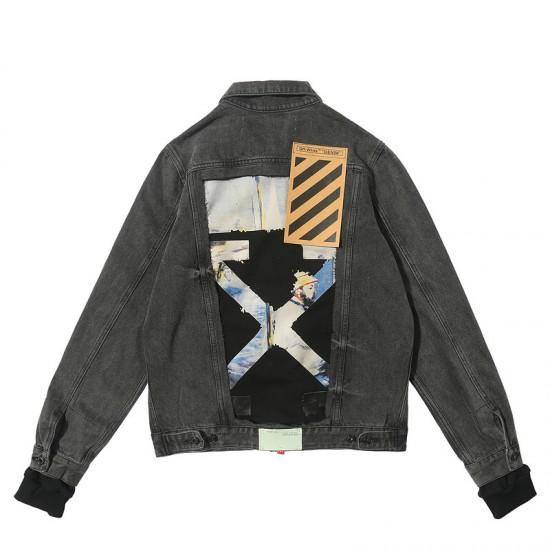 2019 Autumn OFF-WHITE Men's Cowboy Jacket Grey
