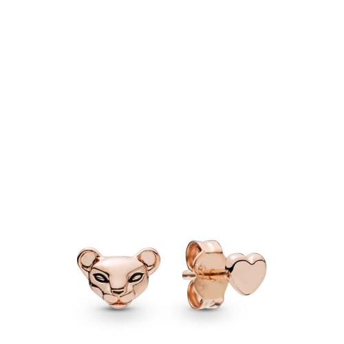 Lioness & Heart Stud Earrings
