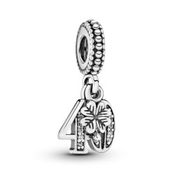 Pandora 40 Years Of Love Dangle Charm, Clear CZ