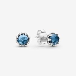 Pandora Blue Sparkling Crown Stud Earrings