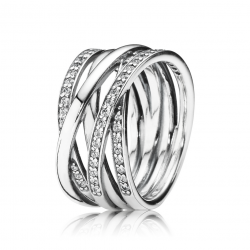 Pandora Entwined Ring, Clear CZ