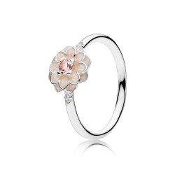 Pandora Blooming Dahlia, Cream Enamel, Clear CZ & Blush Pink Crystals