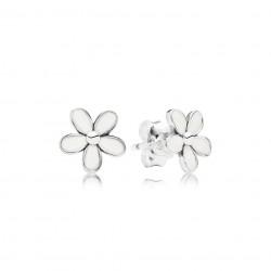 Pandora Darling Daisies Stud Earrings, White Enamel
