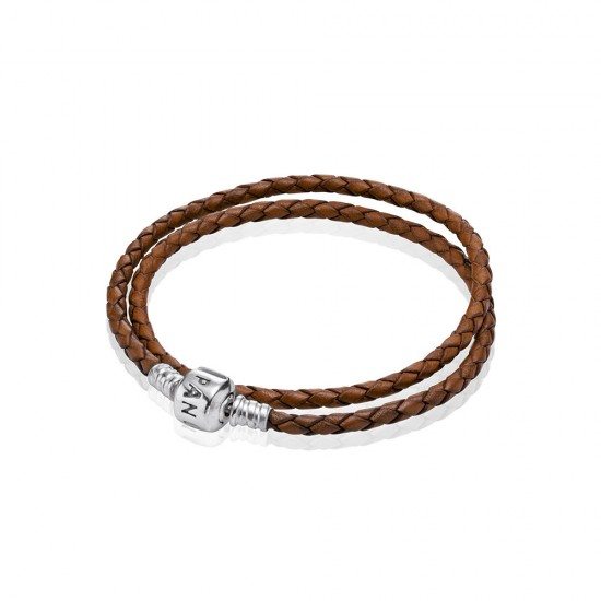 Pandora Brown Braided Double/Leather Charm Bracelet