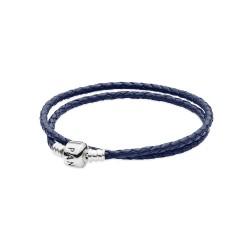 Pandora Dark Blue Braided Double/Leather Charm Bracelet