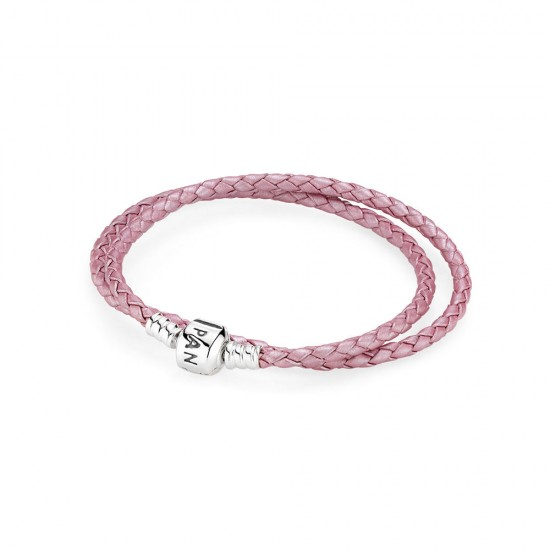 Pandora Pink Braided Double/Leather Charm Bracelet