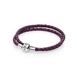 Pandora Purple Braided Double/Leather Charm Bracelet