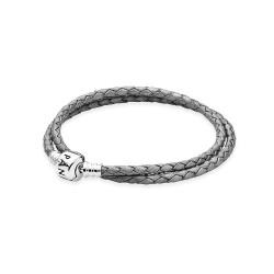 Pandora Silver/Grey Braided Double/Leather Charm Bracelet