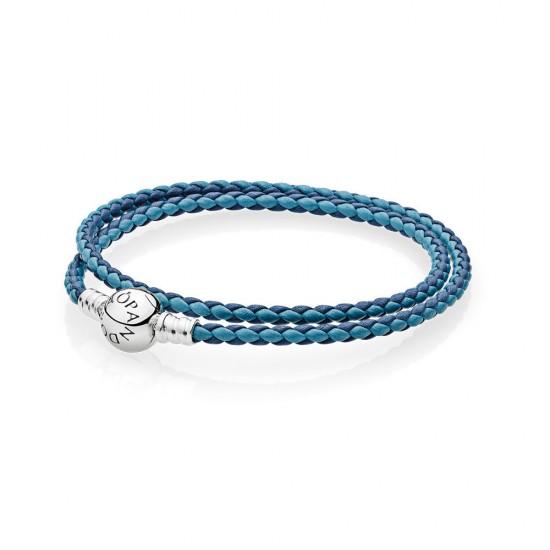 Pandora Mixed Blue Woven Double/Leather Charm Bracelet