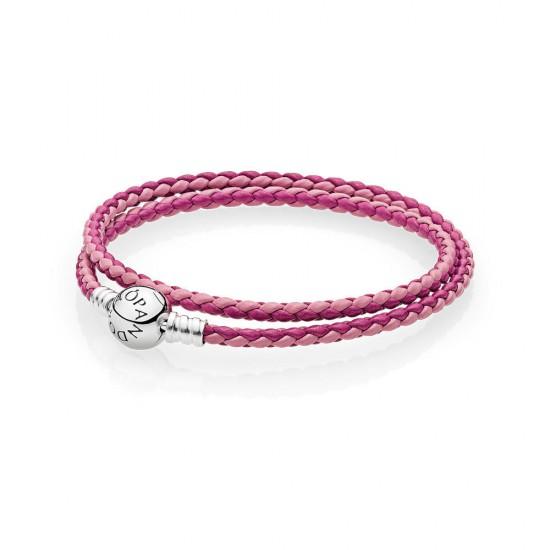 Pandora Mixed Pink Woven Double/Leather Charm Bracelet