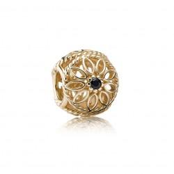Pandora Delicate Beauty, Black Spinel & 14K Gold