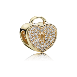 Pandora Heart Lock, Clear CZ & 14K Gold