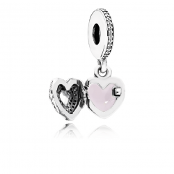 Pandora Angel Wings, Clear CZ & Pink Enamel