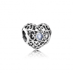 Pandora March Signature Heart, Aqua Blue Crystal