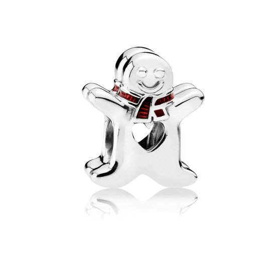 Pandora Sweet Gingerbread Man, Translucent Red Enamel