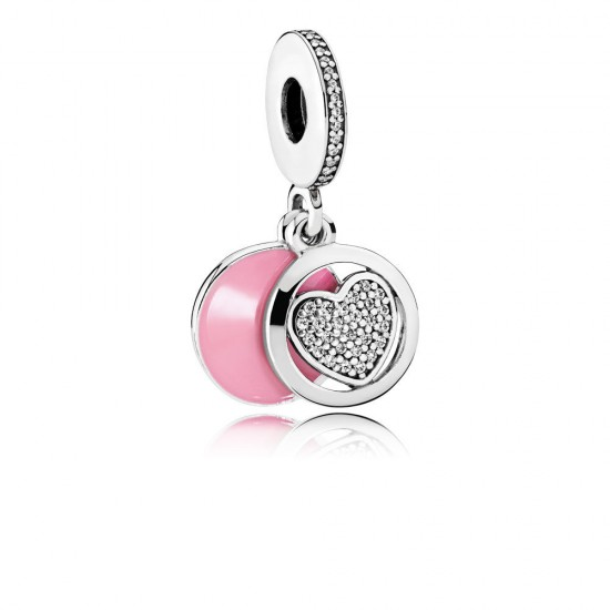 Pandora Devoted Heart Dangle Charm, Pink Enamel & Clear CZ