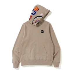 Bape Shark print hoodie Beige