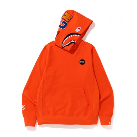 Bape Shark print hoodie Orange