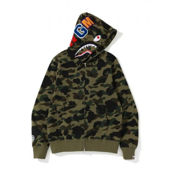 Bape 1st Camo Shark zip hoodie Army Green