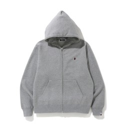 Bape Relaxed One Point zip hoodie Grey