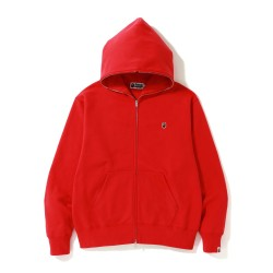 Bape Relaxed One Point zip hoodie Bright Red