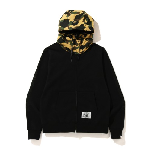 Bape A Bathing Ape embroidery zip hoodie Mellow Yellow
