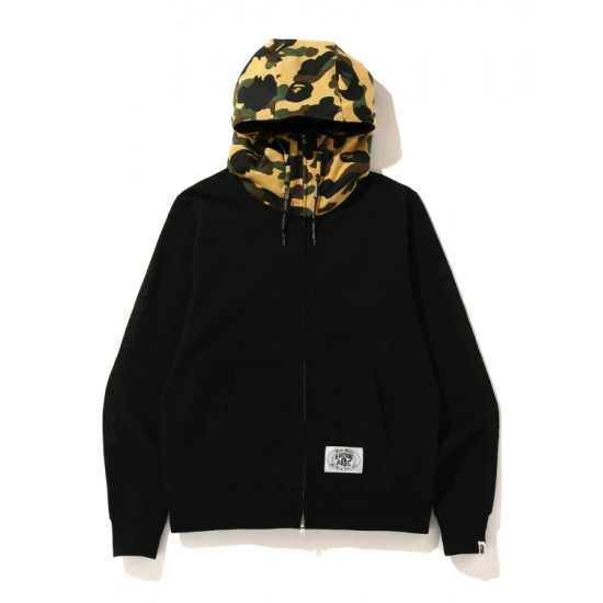 Bape A Bathing Ape embroidery zip hoodie Mellow Yellow