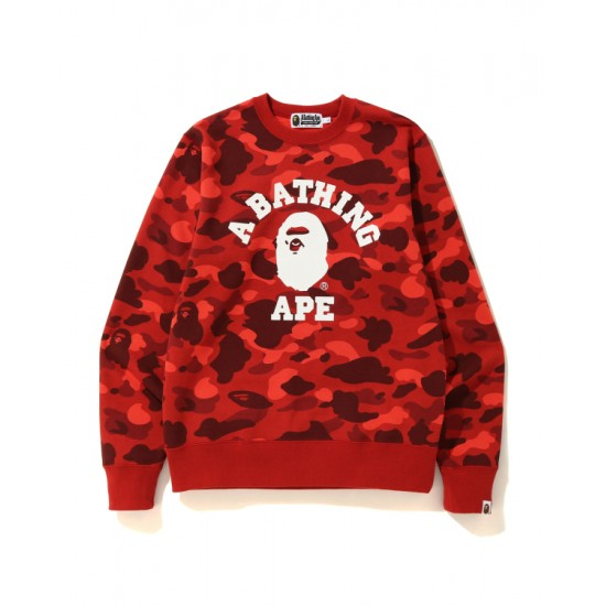 Bape Color Camo College sweatshirt Bright Red