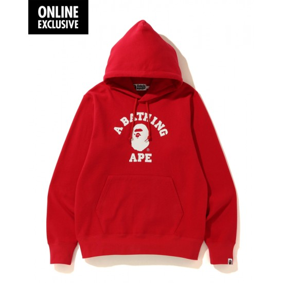 Bape College hoodie Bright Red