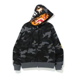 Bape Woodland Camo Tiger zip hoodie Black