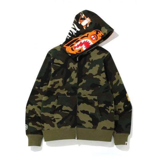 Bape Woodland Camo Tiger zip hoodie Army Green