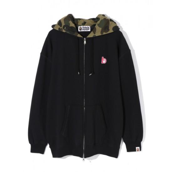 Bape Ape Head patch zip hoodie Black
