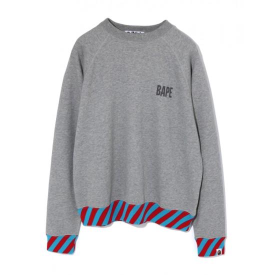 Bape Stripe Rib Wide sweatshirt Grey