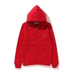 Bape One Point zip hoodie Bright Red
