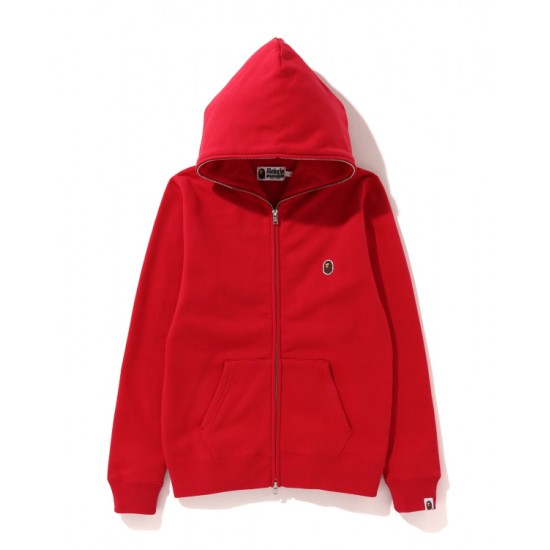 Bape One Point zip hoodie Bright Red