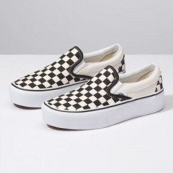 Vans Women Shoes Slip-On Platform black and white checker/white