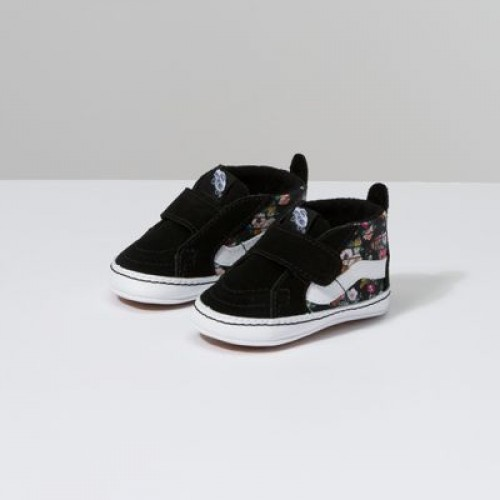 Vans Kids Shoes Infant Butterfly Floral Sk8-Hi Crib Black/Black