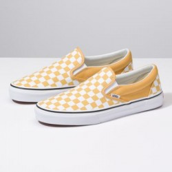 Vans Women Shoes Checkerboard Slip-On Ochre/True White