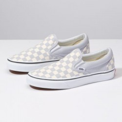 Vans Women Shoes Checkerboard Slip-On Gray Dawn/True White