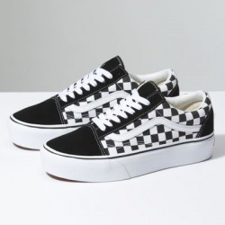 Vans Women Shoes Checkerboard Old Skool Platform black/true white