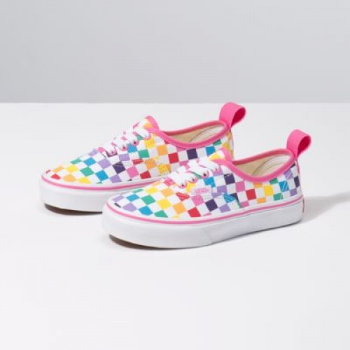 Vans Kids Shoes Kids Checkerboard Authentic Elastic Lace Rainbow/True White