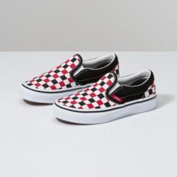 Vans Kids Shoes Kids Checkerboard Slip-On Black/Racing Red
