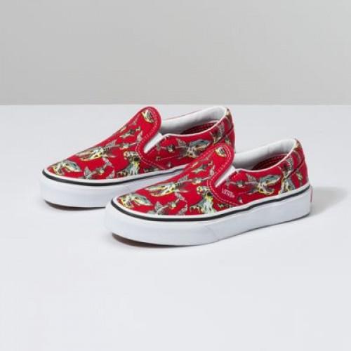 kids red slip on vans