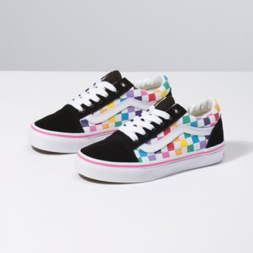 Vans Kids Shoes Kids Checkerboard Old Skool Rainbow/True White