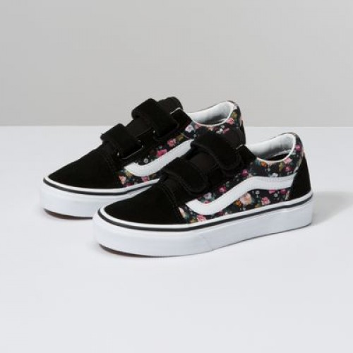 Vans Kids Shoes Kids Butterfly Floral Old Skool V Black/Black